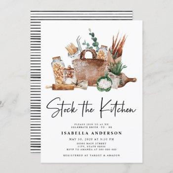 stock the kitchen pantry greenery bridal shower in invitation