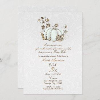 storybook gold white pumpkin fairy tale bridal invitation