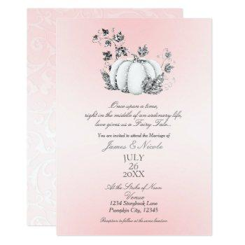 storybook pink & silver pumpkin fairy tale wedding invitation
