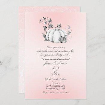 storybook pink & silver pumpkin fairy tale wedding invitation