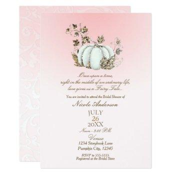 storybook pink white pumpkin fairy tale bridal invitation
