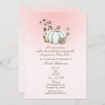 storybook pink white pumpkin fairy tale bridal invitation