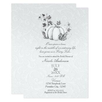 storybook silver white pumpkin fairy tale bridal invitation
