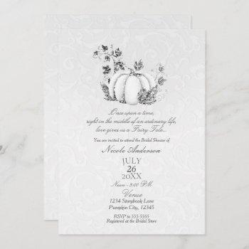 storybook silver white pumpkin fairy tale bridal invitation