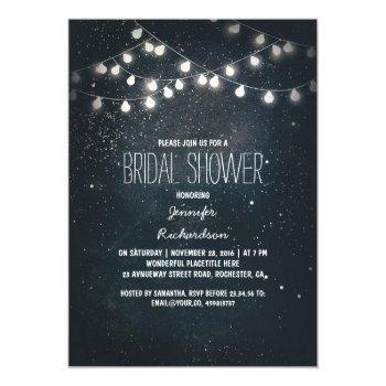 string lights and night sky stars bridal shower invitation