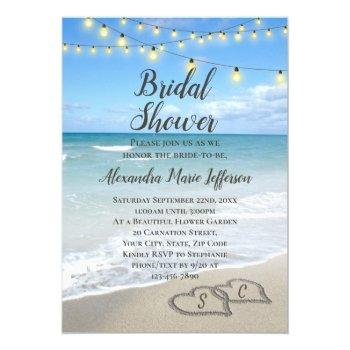 string lights hearts in sand beach bridal shower invitation