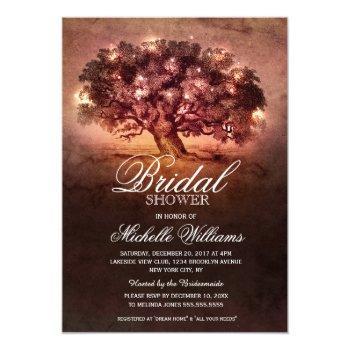 string lights old oak tree rustic bridal shower invitation