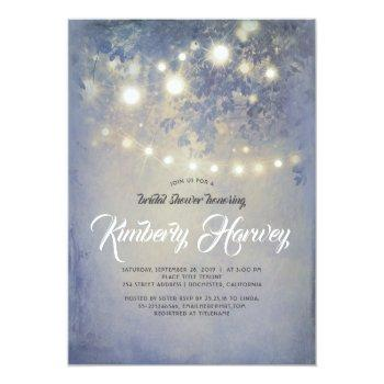 string lights rustic dusty blue bridal shower invitation