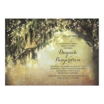 string lights rustic tree vintage bridal shower invitation