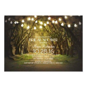string lights trees path rustic bridal shower invitation