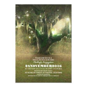 string of lights rustic oak tree bridal shower invitation