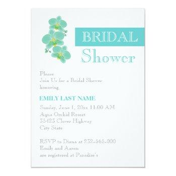 stripe & aqua blue orchid wedding bridal shower invitation