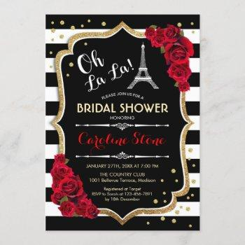 stripes red roses french style bridal shower invitation