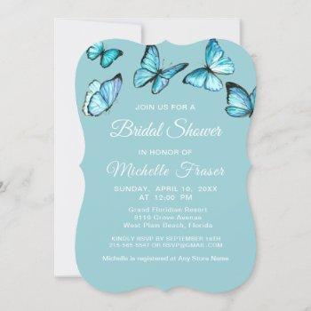 stylish blue watercolor butterflies bridal shower invitation