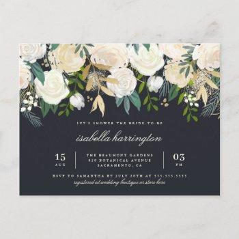 stylish gold watercolor floral bridal shower invitation postcard