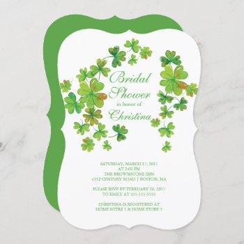 stylish luck of the irish shamrock bridal shower invitation