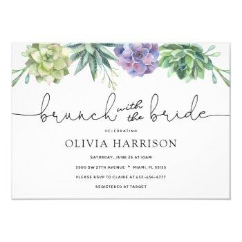 succulent brunch with the bride shower invitation