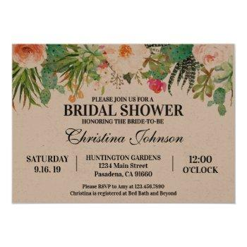 succulent cactus bridal shower invitation