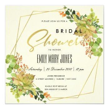 succulent cactus floral watercolor bridal shower invitation