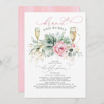 succulent greenery brunch and bubbly bridal shower invitation