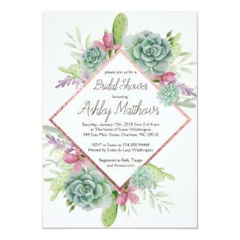 succulent shower invitation, cactus invitation