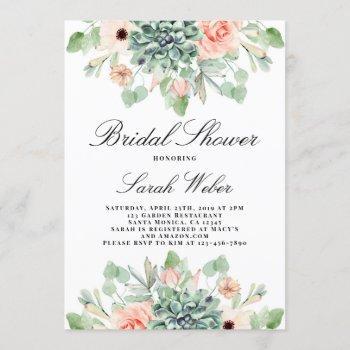 succulents bridal shower invitation