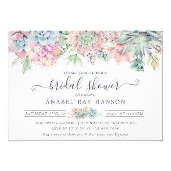 succulents cactus floral blush bridal shower invitation