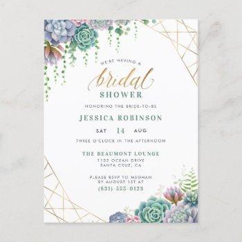 succulents gold frame & chic script bridal shower invitation postcard