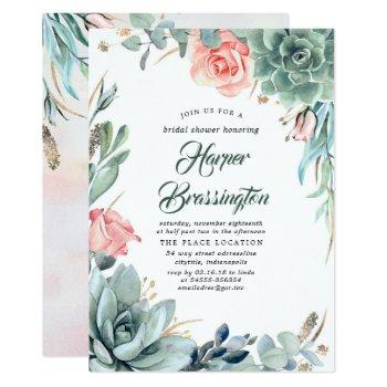 succulents greenery and pink rose bridal shower invitation