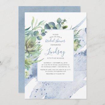 succulents greenery dusty blue bridal shower invitation