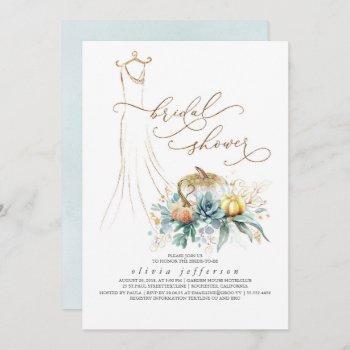 succulents greenery pumpkins dress bridal shower invitation