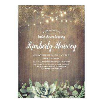 succulents greenery rustic country bridal shower invitation