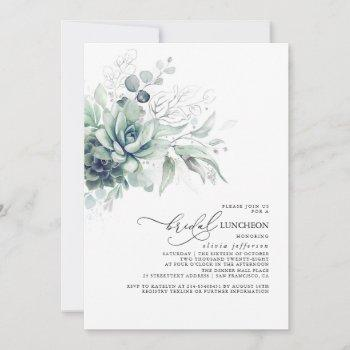 succulents greenery silver leaves bridal luncheon invitation