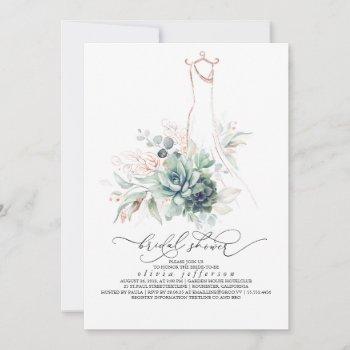 succulents greenery wedding dress bridal shower in invitation