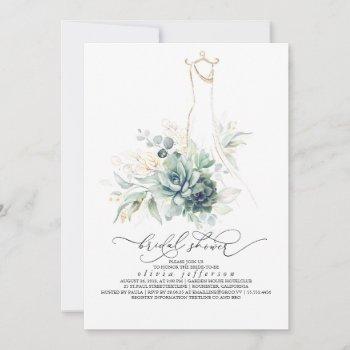 succulents greenery wedding dress bridal shower invitation
