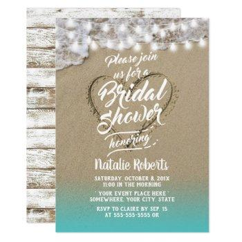 summer beach heart rustic bridal shower invitation