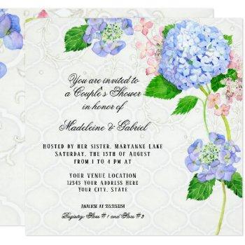 summer blue hydrangea watercolor couples shower invitation