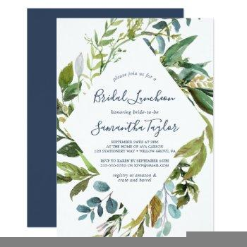summer greenery diamond wreath bridal luncheon invitation