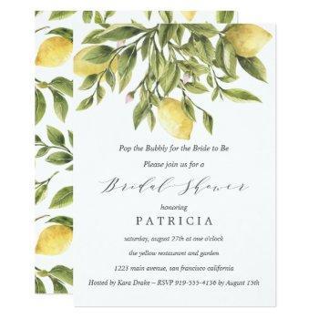 summer lemons and foliage wedding bridal shower invitation