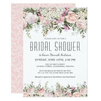 summer rose garden floral bridal shower invitation