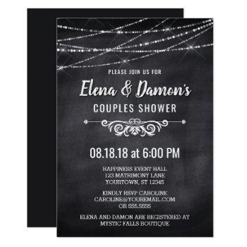 summer string lights couples shower invitation