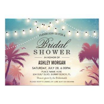 summer string lights sunset outdoor bridal shower invitation