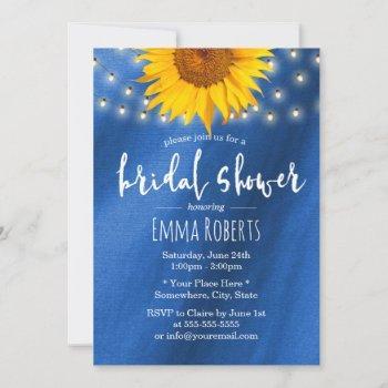 summer sunflower string royal blue bridal shower invitation