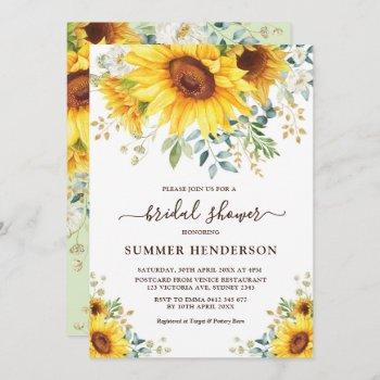 summer sunflowers bridal shower yellow floral invitation