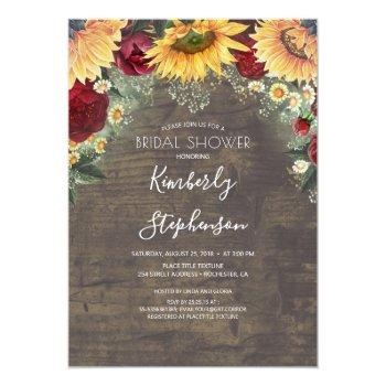 Sunflower And Burgundy Rose Rustic Bridal Shower Invitation Front View