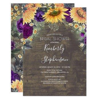 sunflower and purple rose rustic bridal shower invitation