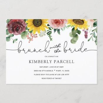 sunflower and roses brunch with the bride shower invitation