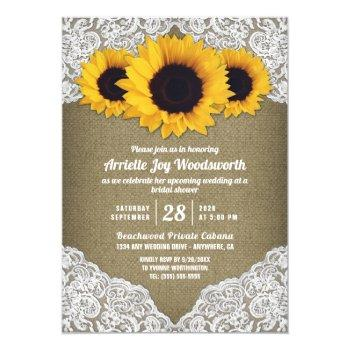 sunflower burlap lace bridal shower invitations