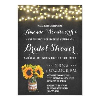 sunflower chalkboard bridal shower invitations