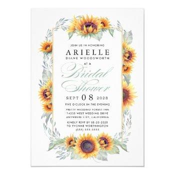 sunflower country rustic bridal shower invitations
